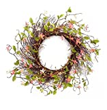 28'' Blossoming Wild Flowers and Twig Wreath with Greenery - Unlit