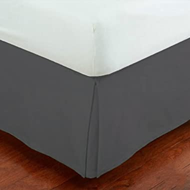Mk Collection Solid Pleated California King Bed Skirt 14  Drop Dark Grey/Charcoal New
