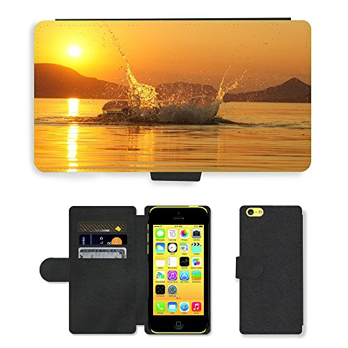 PU Leather Cover Custodia per // M00421768 Lac Balaton Splash Sunset // Apple iPhone 5C