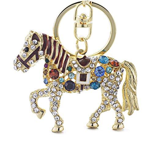 (Multicolor Crystal Horse Metal Bag Pendant Key Holder Keyring Keychain For Car)