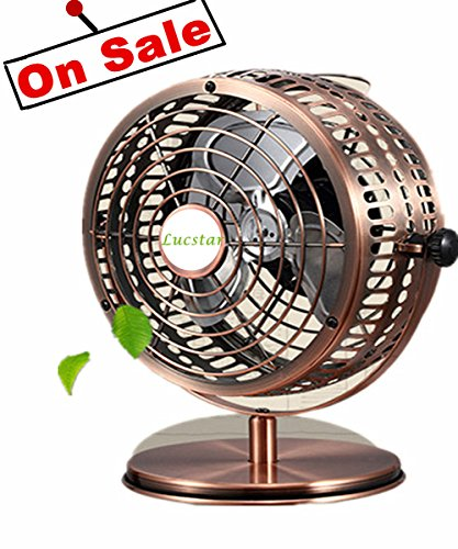 Lucstar Retro USB Fans Personal Vintage Table Desk Art Decoration for Office Home Bedroom Business Gift, Quiet Design 6Inch (Copper Small Mailbox)