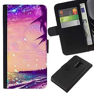 For LG G2 D800 Case , Glitter Purple Palms Miami Tropics - la tarjeta de Crédito Slots PU Funda de cuero Monedero caso cubierta de piel