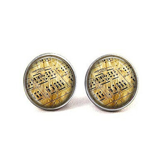 Antique Music Pages Cufflinks - Musician or Music Lover Gift - Classical Music - Pianist Gift - Vintage Sheet Music Cufflinks (Sheet Classical Cufflinks Music)