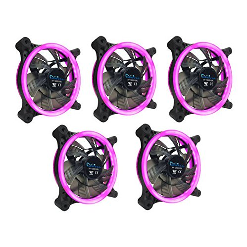 APEVIA 512L-CPK 120mm Silent Dual Rings Pink LED Fan with 32 x LEDs & 8 x...