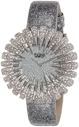 Burgi Women's BUR112GY Crystal Accented Silver Quartz Watch with Silver Dial and Silver Bracelet