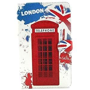 Patrón Cabina de teléfono Cubierta de cuero en folio de la PU para Samsung T700