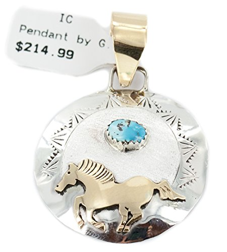 Very Delicate $215 Retail Tag 12kt Gold Filled and Silver Authentic Horse Handmade Made by Genevieve Jones Navajo Natural Turquoise Native American Pendant