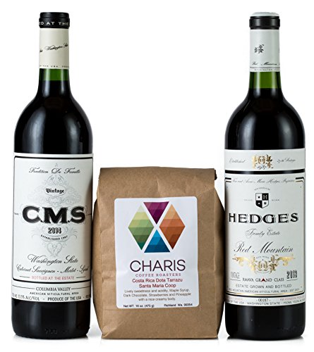 Hedges Family Estate The Caffeinated Wino Gift Set with 16oz Single Origin Charis Coffee, 2 X 750 mL