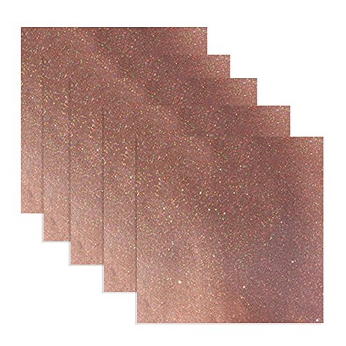 Glossy Glitter Vinyl Adhesive 12 x 12 Sheets | 5 Pack | 5 Feet Total (Rose Gold)
