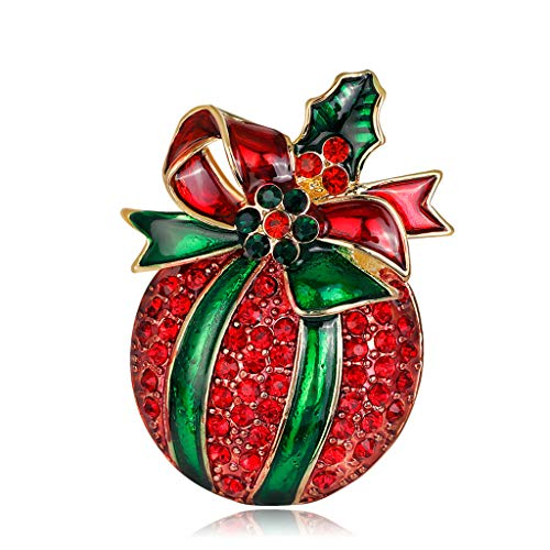 LifePavilion Vintage Christmas Brooch Apple With Bowknot Rhinestone Pin Fashion Jewelry Gifts Decoration ()
