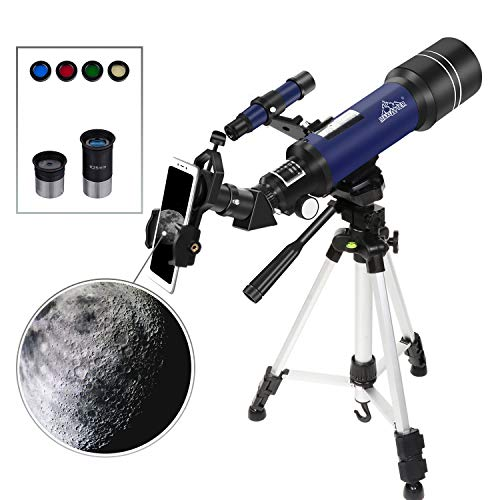 Refractor Astronomy Telescope for Kids Starter Teens, Dual-Use with Standard Tripod Smartphone Adapter Case Wired Shutter Accessories, 400/70mm Basic Travel Scope MAXLAPTER (Best Starter Telescope For Kids)
