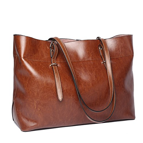 NAWO Women's Genuine Leather Handbag Tote Shoulder Bag Large Capacity for Ladies, Brown Lined Suede Shoulder Bag