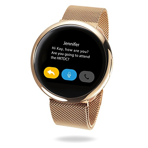 MyKronoz ZeRound2 HR Elite Smartwatch with Heart Rate Monitoring and Smart Notifications, Swiss Design, iOS and Android - Shiny Pink Gold / Milanese Pink Gold by MyKronoz (Image #10)