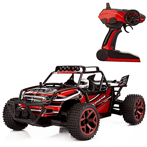 Metakoo RC Cars Electric Off Road 4x4 Rc Trucks High Speed 20km/h Remote Car 1:18 Scale 4WD Remote Control Truck Fast Race Crawler 2.4 GHz Vehicle Buggy Hobby Car- Red