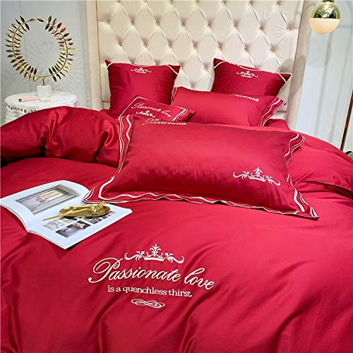 (YLAAA SHEET & PILLOWCASE SETS Four-Piece Set On The Bedbed Cover Throw Hypoallergenic Long-Staple Cotton American Style Wedding Room Pillow Bedding Set (Color : Red, Size : 200cm230cm))
