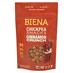 Biena All Natural Roasted Cinnamon Crunch Chickpea Snacks 5oz (Pack of 2)