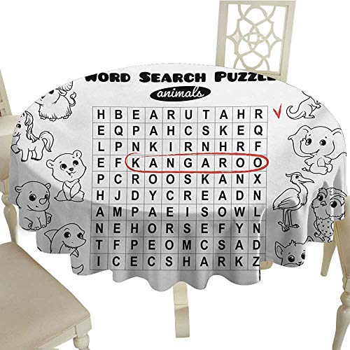 Cranekey Small Round Tablecloth 36 Inch Word Search Puzzle,Black and White Game Sheet Design Finding The Names of Animals,Black White Red Great for,Party & More