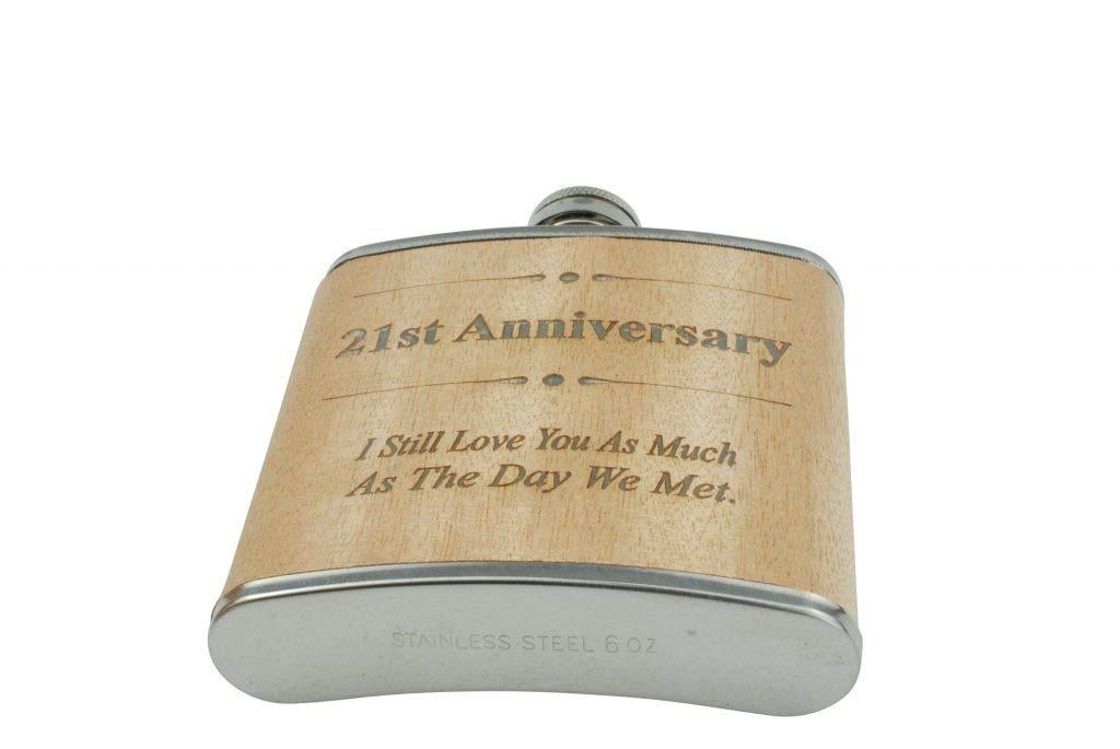 regalo de 21 a/ños de aniversario para /él Petaca para 21 aniversario