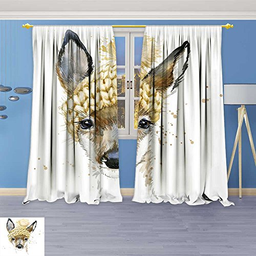SOCOMIMI Print Woven Sateen Window Curtain, Forest Deer t Shirt Graphics Deer with Splash Textured Panel Pair with Grommet Top, 84W x 108L -