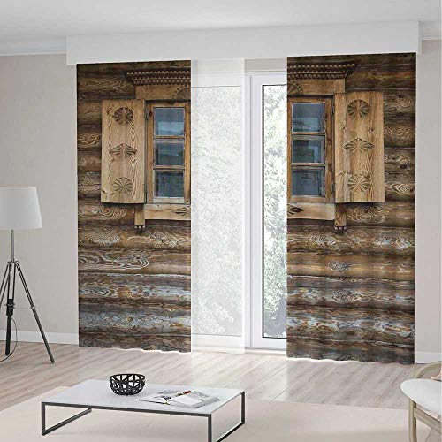 ALUONI Decor Collection TT02 Shutters for Bedroom Living Dining Room Kids Youth Room Windows with Shutters Patterned on The 2 Panel Set 141W x 106LInches