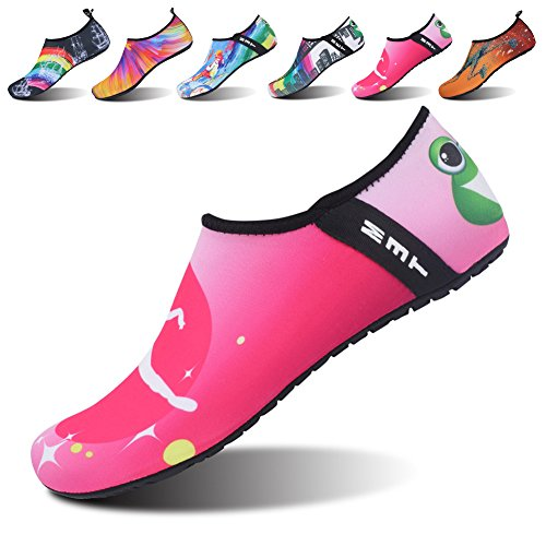 JOINFREE Women's Men's Kid Yoga Water Sport Shoes Barefoot Quick-Dry Yoga Footwears for Boating Dance Pink 2.5-3.5 M US Little Kid