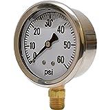 Valley Instrument 2 1/2in. Stainless Steel Glycerin Gauge - 0-60 PSI