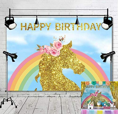 Fanghui Backdrops Photography Photo Studio Background Photographic Happy Birthday Material Vinyl 7x5ft unicorn -