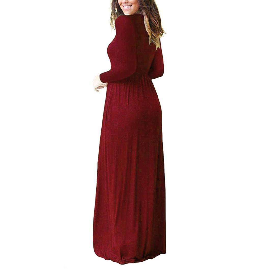 POLP Vestidos Sueltos Mujer, Vestido con Bolsillo, Vestido Manga Larga Mujer, Falda Larga Mujer, Tallas Grandes Vestidos, Vestido Largo Muje, Corto Elástica ...