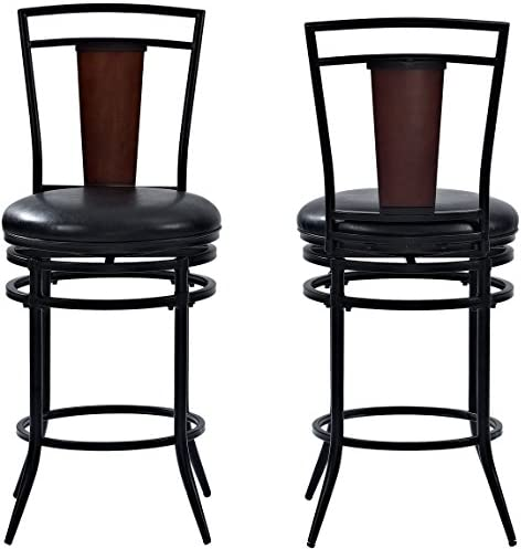 Xinghao Modern Swivel Barstools with Chrome Base, Adjustable Counter Height Bar Stool, Taupe PU Leather Padded with Back, Set of 2, Hold Up to 350lb
