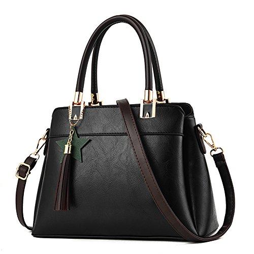 Nevenka Top Handle Handbags for Women Three Internal Layering Shoulder Bags Large Tote Satchel (L, Black)
