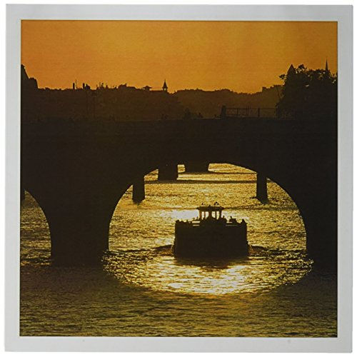 3dRose Sunset, Boat, Pont Neuf, Seine, Paris, France - EU09 DBN0767 - David Barnes - Greeting Cards, 6 x 6 inches, set of 12 (gc_81475_2)