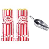 12oz popcorn supplies - Carnival King Popcorn Bags (200 pieces) with Poppi's Popcorn Scooper, 2 oz bags, Red & White