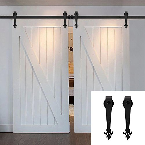 Hahaemall Ship From US Farmhouse Rustic Steel Rail Rolling Door Hardware  Track Roller Black Antique Sliding