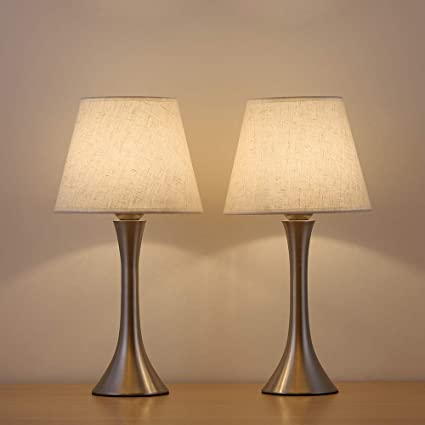 HAITRAL Table Lamp Metal Basic Bedroom Lamp Minimalist Nightstand Light For  Bedroom,Livingroom,Studyroom