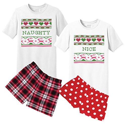 KAMAL OHAVA Naughty Nice Couples Matching Christmas Pajama Set, His: L/Hers: XL (His Christmas Hers Pyjamas And)