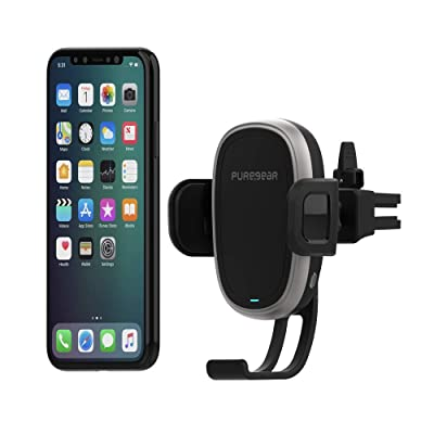 PureGear AutoGrip 10W Wireless Car Charger for Qi Enabled Phone, Self Gripping System, Vent Mount, with QC 3.0 Car Charger, 3FT USB C Charging Cable, Black (Upgraded Version): Home Audio & Theater