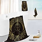 Cabana Beach Towel set hand drawn gold buddha head with lotus decoration sign for tattoo textile print mascots and Comfortable and Extremely Absorbent
