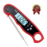 Instant Read Meat Thermometer Waterproof Thermometer Digital Themometer with Large Backlit LCD Calibration and Backlight Functions Thermometer for BBQ. Meat. Tea. Milk. Soup. (GordonChann red)