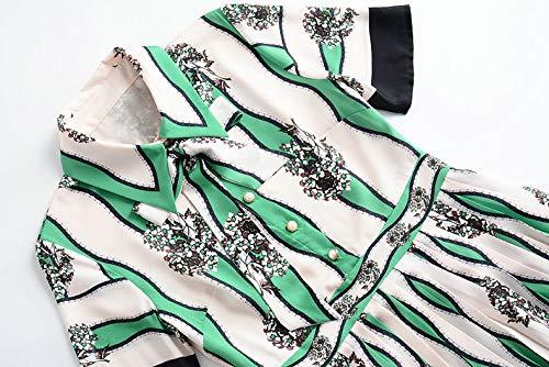 Donna Risvolto Corte Pizzo Maniche Uebzsoonfwoe Con Floreale Camicia Pieghettata In Green Cravatta A Da 8xEBEqpw7