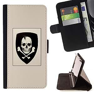 BullDog Case - FOR/Samsung Galaxy Core Prime / - / SKULL COAT OF ARMS EMBLEM CROSSBONES /- Monedero de cuero de la PU Llevar cubierta de la caja con el ID Credit Card Slots Flip funda de cuer