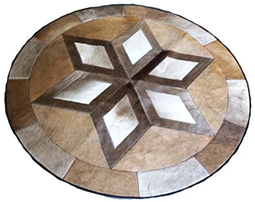 Australian Cowhide Patchwork Star Geometric Brown Beige and Grey Area Rug - Round Leather Area Rug Cow Skin (4 X 4)