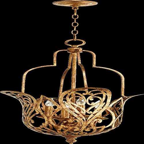 Quorum Lighting 8192-4-30, Le Monde Large Bowl Pendant, 4LT, 80 Watts, Vintage Gold Leaf