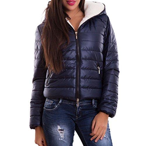 Toocool–Edredón acolchado para mujer chaleco abrigo capucha pelo nuevo CC-1046–�? turquesa
