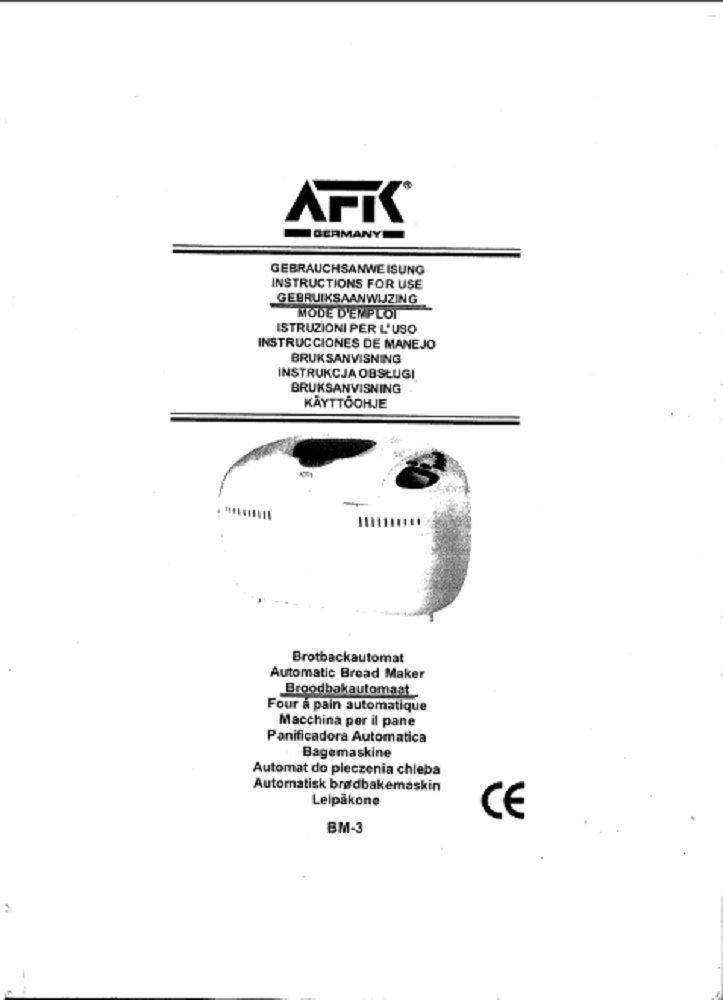 Amazon.com: AFK Germany Bread Machine Manual (Model: BM2N ...