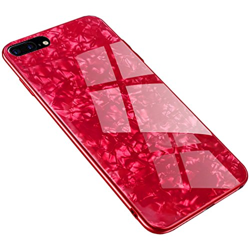 Red Pattern Glass - Anyos iPhone 7plus 8 Plus Case, Tempered Glass Pattern Painted Mirror Bumper Cover for iphone7 8plus (Red Shell)