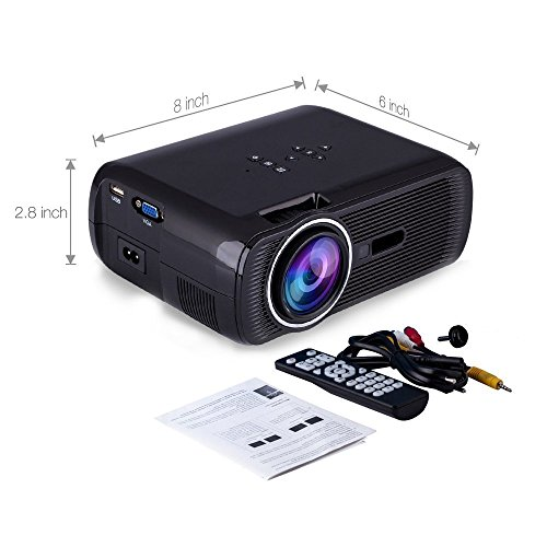 Projector deeplee portable multimedia 1000 lumens mini for Best mini projector for powerpoint presentations
