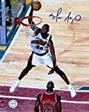 Signed Shawn Kemp Photo - 8X10 white jersey front vs Michael Jordan) - Autographed NBA Photos