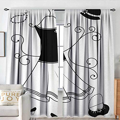 (Window Curtains Heels and Dresses,Classical Old Fashioned Female Garment Floral Swirls Hat Purse Necklace,Black White,for Room Darkening Panels for Living Room, Bedroom 84