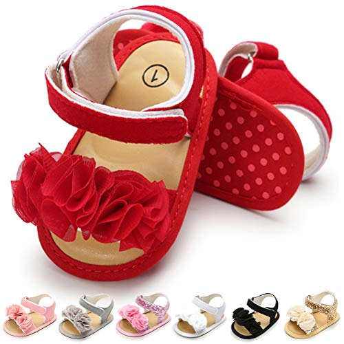 Infant Baby Girls Sandals Flowers Summer Shoes Soft Sole Toddler First Walker Crib Shoes (12-18 Months M US Toddler, Red)