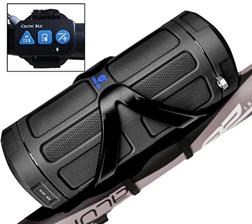 Bluetooth Speaker System by Celtic Blu - 100ft Range w/ Surround Sound - Comes w/ Built-In Power Bank, Bike Cage & Remote